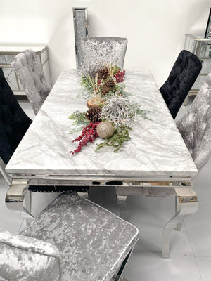 Grey Marble Louis Dining Table 1.6M