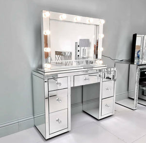 Set - Glamorous 7 Drawer Mirrored Vanity Dressing Table & Hollywood Mirror