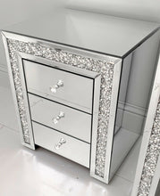 80cm Mirrored Glass Wall Shelf Drawer Floating Bedside Table