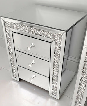 Crushed Diamond Mirrored Bedside Table 3 Drawers