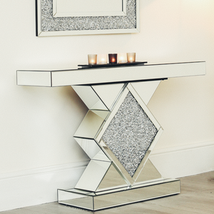 Crushed Diamond Mirrored Modern Glass Console Table