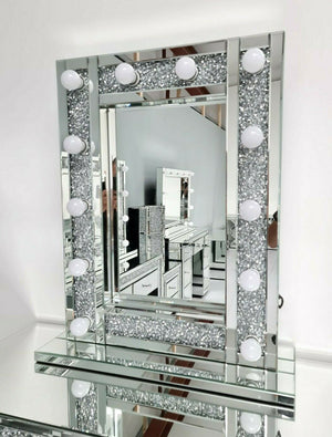 Mirrored Crushed Diamond Vertical Hollywood Mirror