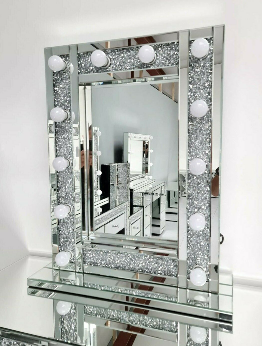 44cm Mirrored Glass Wall Shelf Drawer Floating Bedside Table