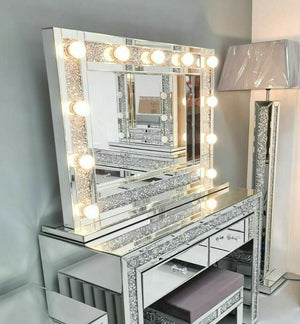 Crushed Diamond Mirrored Hollywood Mirror 100cm x 70cm