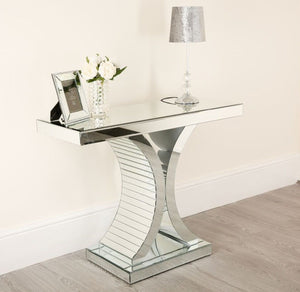 Mirrored Modern C-Shaped Glass Console Table