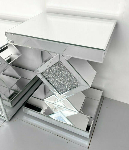 Mirrored Crushed Diamond 3-Drawer Bedside Table