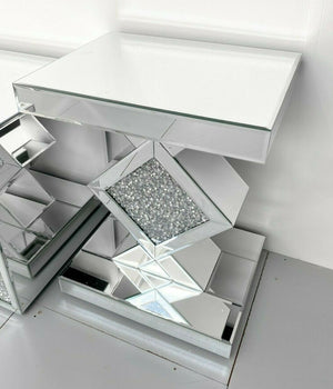 Crushed Diamond Mirrored Side Table