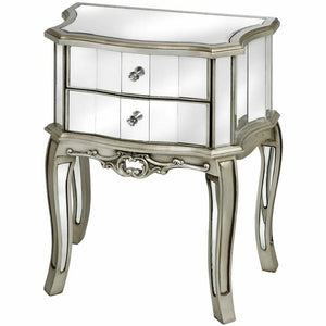Mirrored Argente Vintage Style 2 Drawer Bedside Table