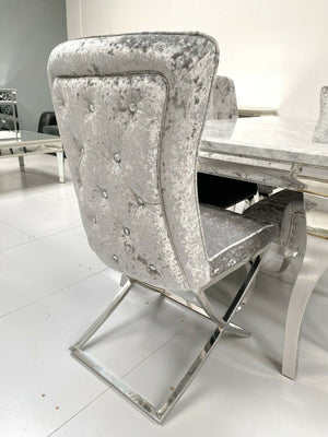 Crushed Velvet Grey Crystal Back Dining Chairs With X-Legs