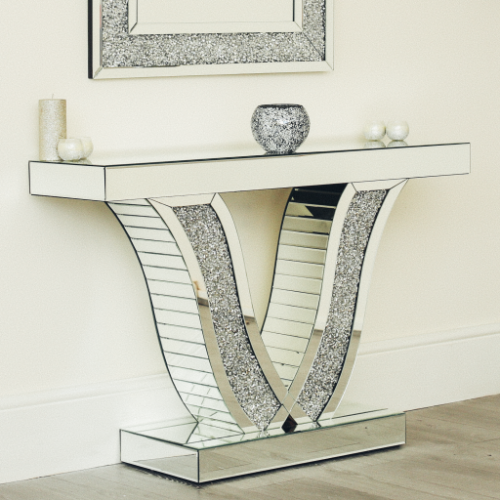 Crushed Diamond Mirrored Modern Glass Console Table V-Shaped