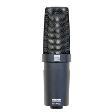 This is a photo of the Sanken CU-44X Mkll. It is shown at a front facing view on a white background. The microphone is black.