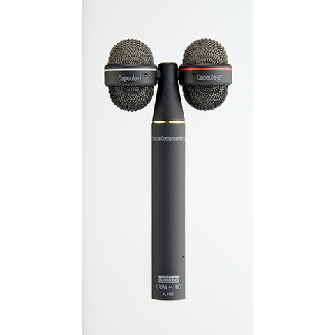 This is a photo of the Sanken CUW-180. It is front facing, with one microphone either side of the body.