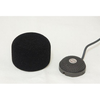 This is a photo of the Sanken WM-01 foam windscreen. It is black in colour and made out of foam. It is cylinder shaped. It is shown with a grey CUB-01 microphone