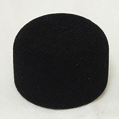 This is a photo of the Sanken WM-01 foam windscreen. It is black in colour and made out of foam. It is cylinder shaped.