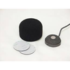 This is a photo of the sanken RB-01 shown with a grey CUB-01 and a black microphone foam wind protector. It is a rubber base accessory for the CUB-01 miniature boundary microphone. It is a small circular shape with a white top.