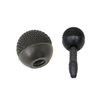 This is a photo of the Sanken WSL-11. It is black. It is circular in shape, like the shape of an acorn. It is a large metal windscreen. In the photo it is placed on a microphone to show you what it looks like on a microphone.