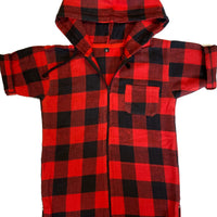 Red Flannel Hooded Shirt