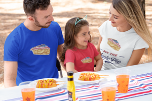 American family wearing patriotic apple pie t-shirts during an American holiday.