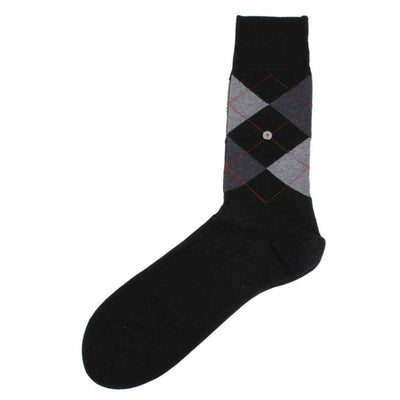 Burlington Black Mercerised Argyle Cotton Socks