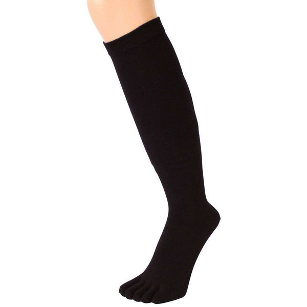 TOETOE Black Everyday Knee High Toe Socks