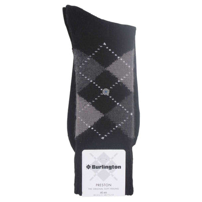 Burlington Black Preston Argyle Socks