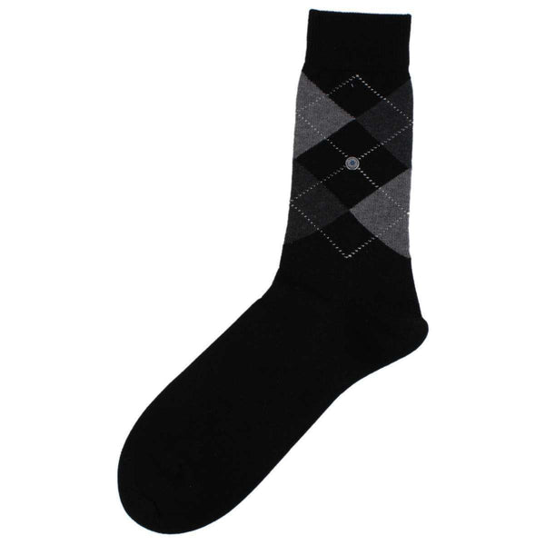 Burlington Black Covent Garden Argyle Socks