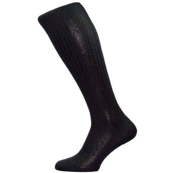 Pantherella Black Baffin Rib Over the Calf Silk Socks