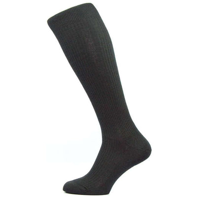 Pantherella Black Naish Rib Over the Calf Merino Wool Socks