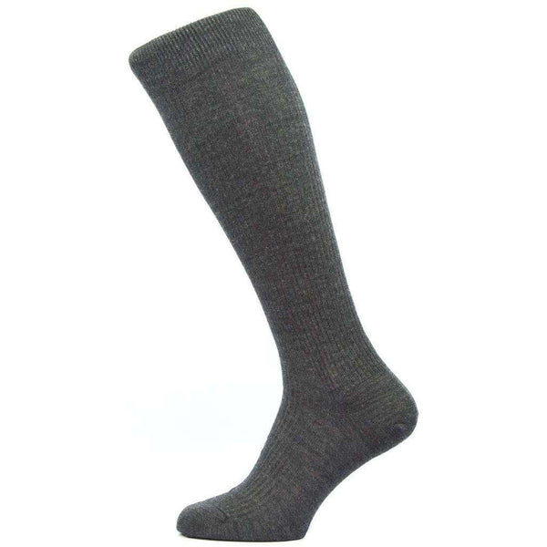 Pantherella Grey Naish Rib Over the Calf Merino Wool Socks