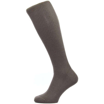 Pantherella Brown Naish Rib Over the Calf Merino Wool Socks
