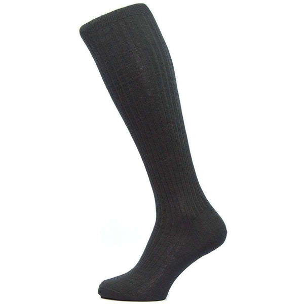 Pantherella Black Kangley Rib Over the Calf Merino Wool Socks