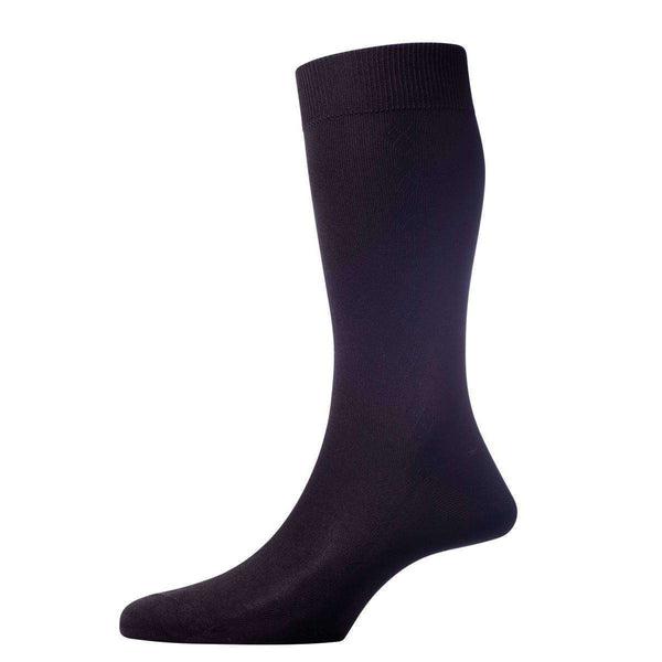 Pantherella Black Jackman Diamond Panel Silk Socks