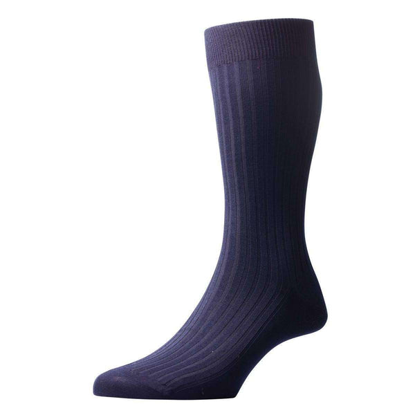 Pantherella Navy Danvers Rib Cotton Lisle Socks
