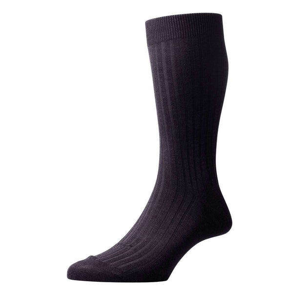 Pantherella Grey Danvers Rib Cotton Lisle Socks
