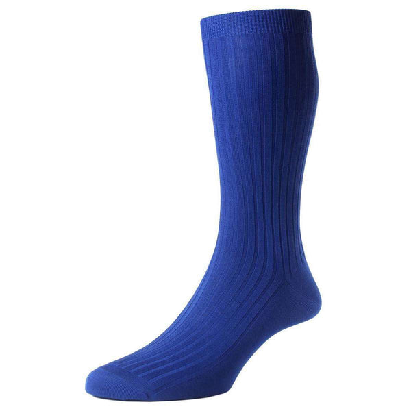 Pantherella Blue Danvers Rib Cotton Lisle Socks