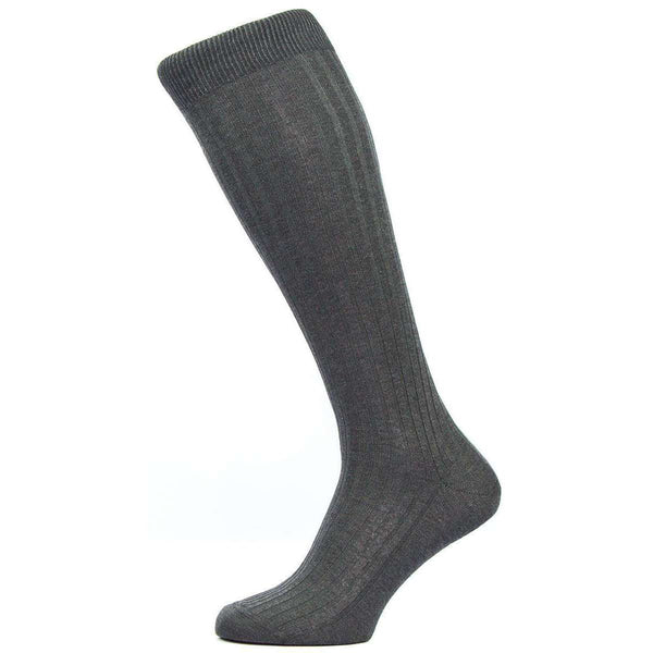 Pantherella Grey Danvers Rib Over the Calf Cotton Lisle Socks