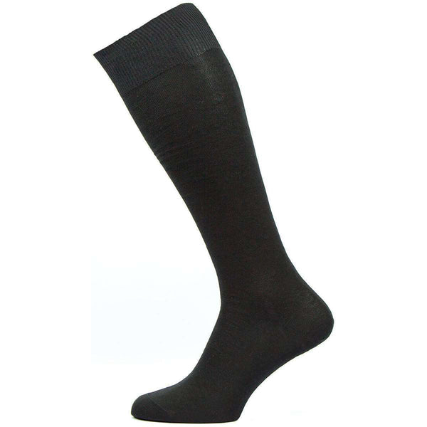 Pantherella Black Sackville Flat Knit Over the Calf Cotton Lisle Socks