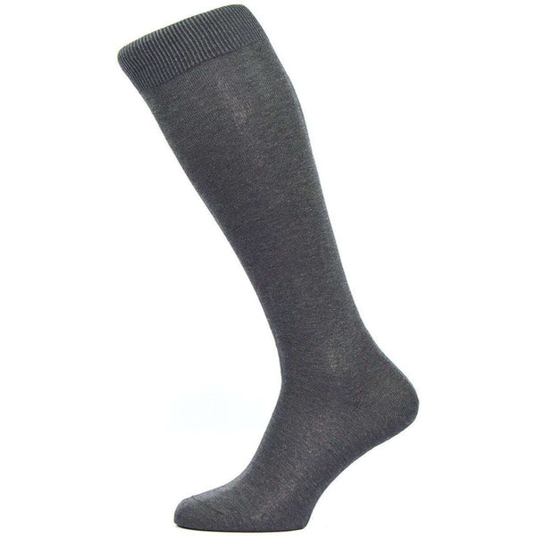 Pantherella Grey Sackville Flat Knit Over the Calf Cotton Lisle Socks