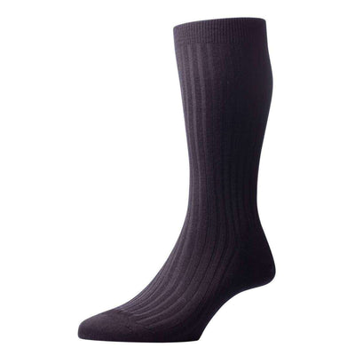 Pantherella Black Laburnum Rib Merino Wool Socks