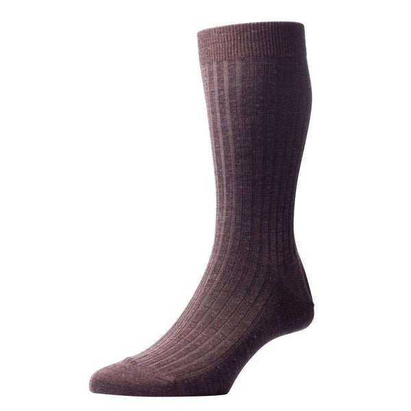 Pantherella Brown Laburnum Rib Merino Wool Socks