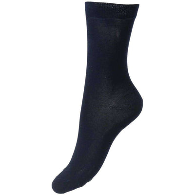Pantherella Navy Poppy Flat Knit Cotton Lisle Socks