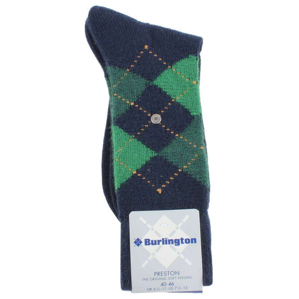 Burlington Navy Preston Argyle Socks