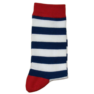 Bassin and Brown Navy Hooded Striped Contrasting Heel and Toe Socks