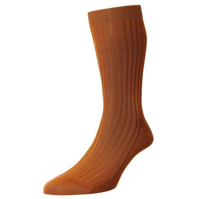 Pantherella Orange Danvers Cotton Lisle Socks