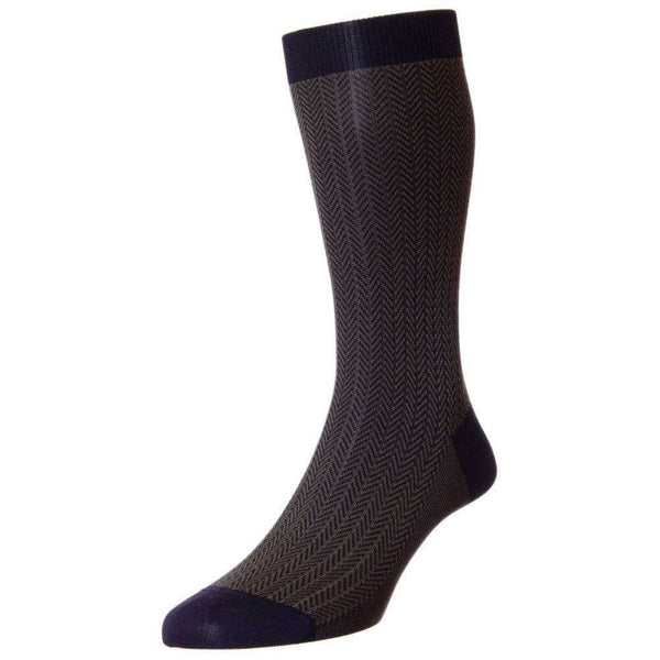 Pantherella Navy Fabian Herringbone Cotton Lisle Socks