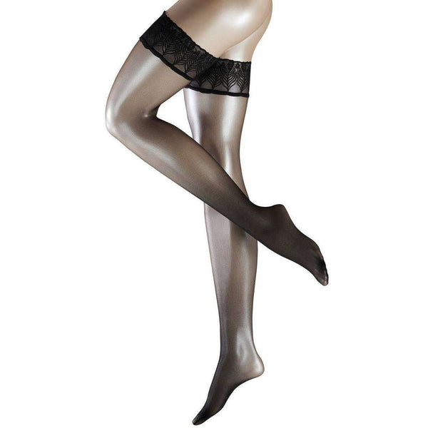 Falke Black Lunelle 8 Denier Ultra-Transparent Shimmer Stay Up Stockings