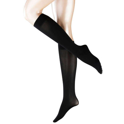 Falke Black Pure Matte 50 Denier Semi-Opaque Matte Knee High Tights