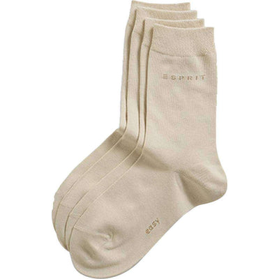 Esprit Cream Basic Easy 2 Pack Mid-Calf Socks