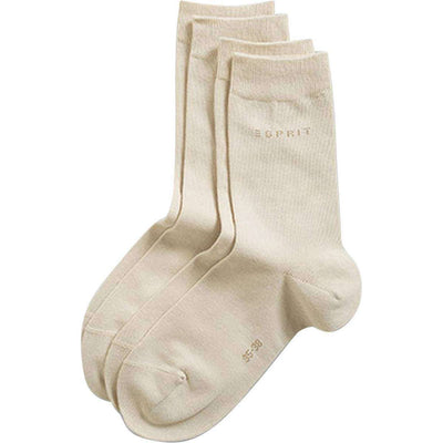 Esprit Cream Basic Fine Knit Mid-Calf 2 Pack Socks