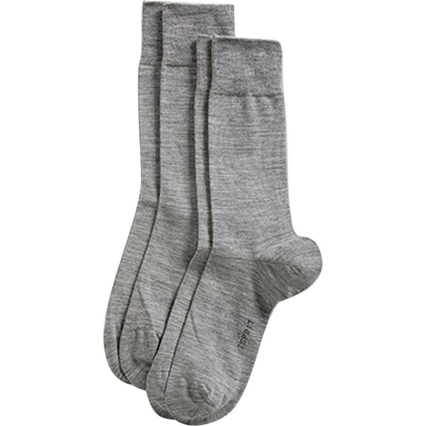 Esprit Grey Basic Elegant Wool 2 Pack Socks